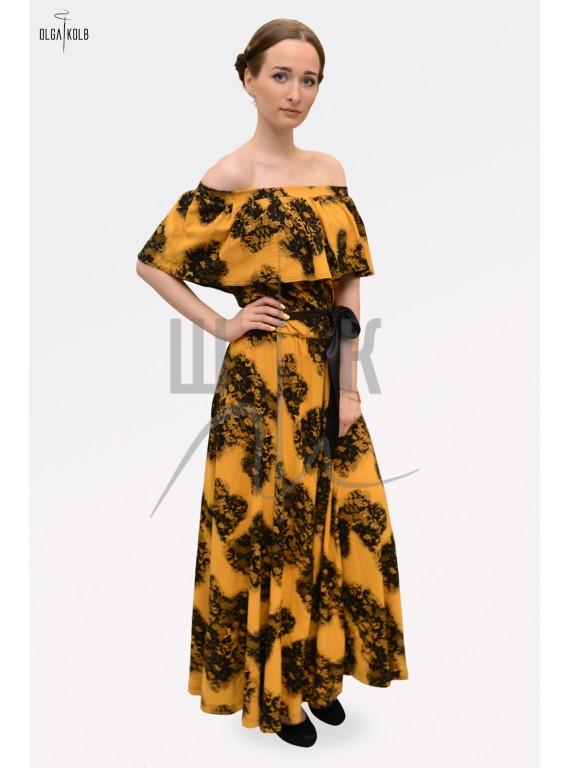 Платье из льна бренда OLGA KOLB, цвет желтый