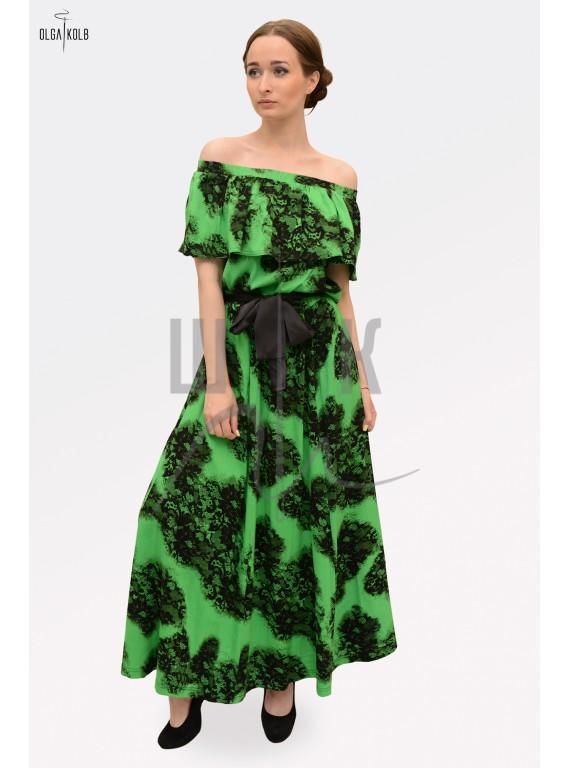 Платье из льна бренда OLGA KOLB, цвет зеленый