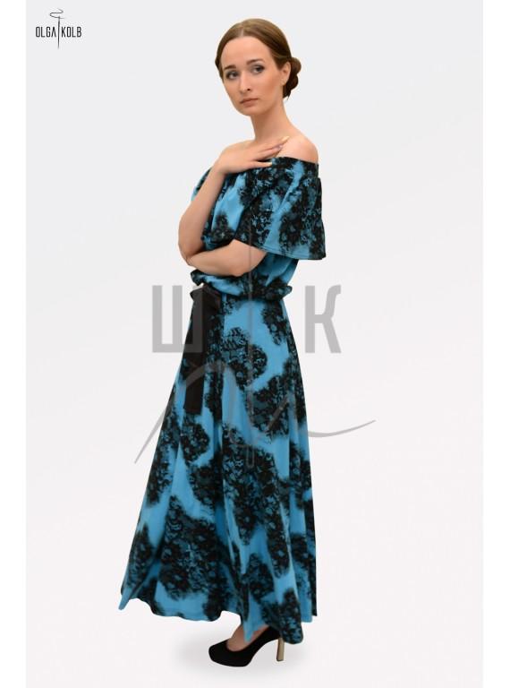 Платье из льна бренда OLGA KOLB, цвет синий