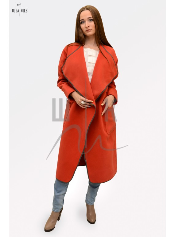Пальто-халат бренда OLGA KOLB, цвет кирпичный