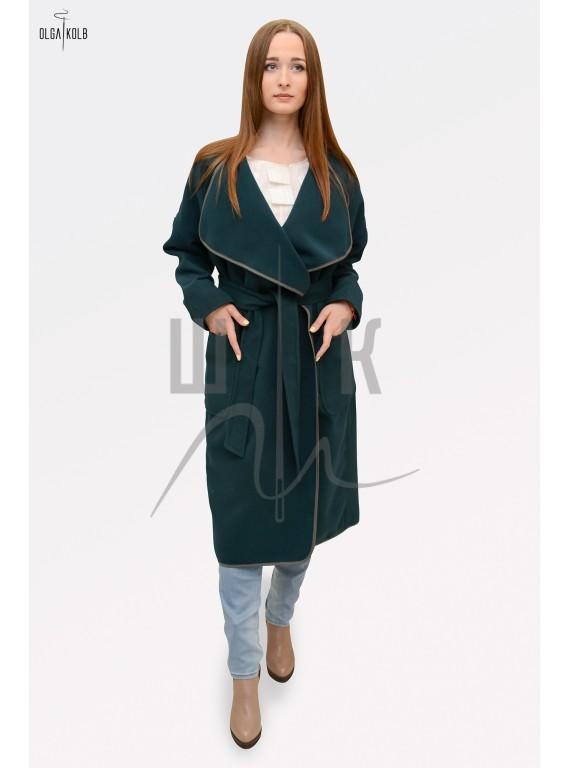Пальто-халат бренда OLGA KOLB, цвет темно-зеленый
