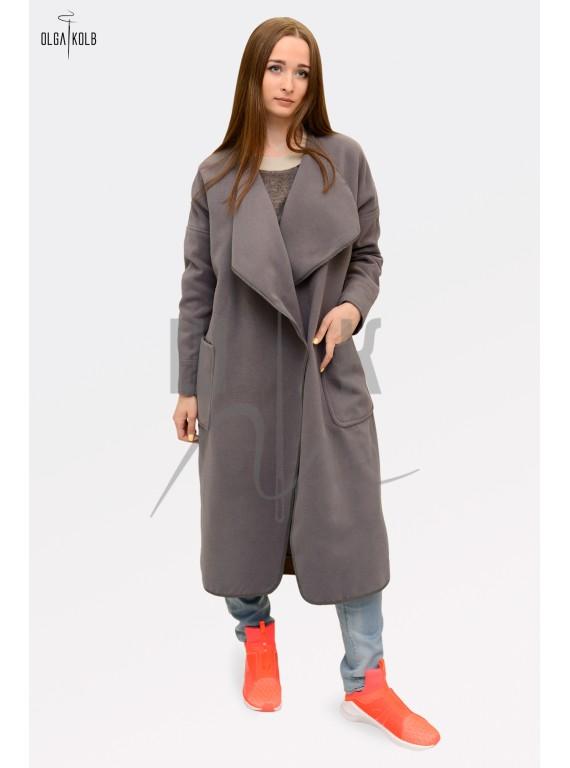 Пальто-халат бренда OLGA KOLB, цвет серый