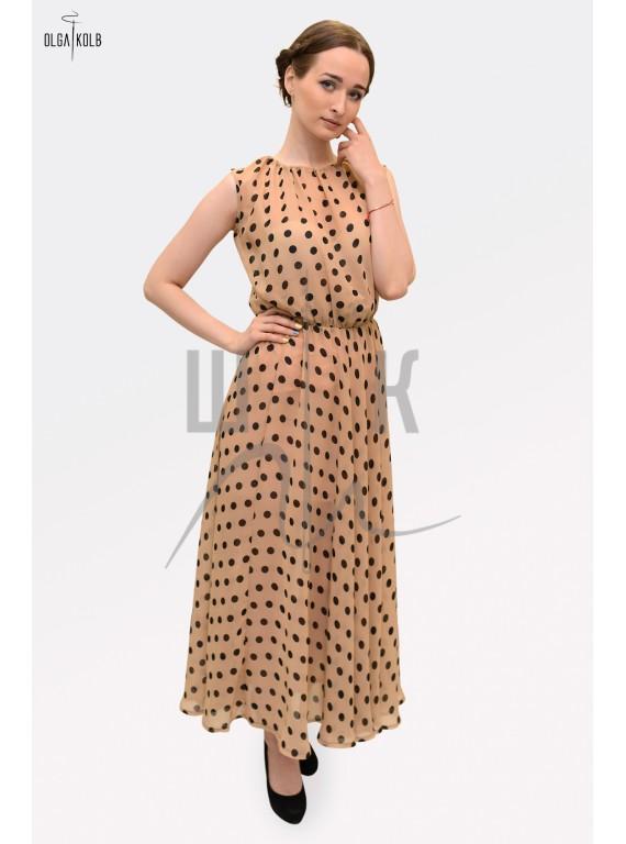 Платье из шифона бренда OLGA KOLB, горох на бежевом