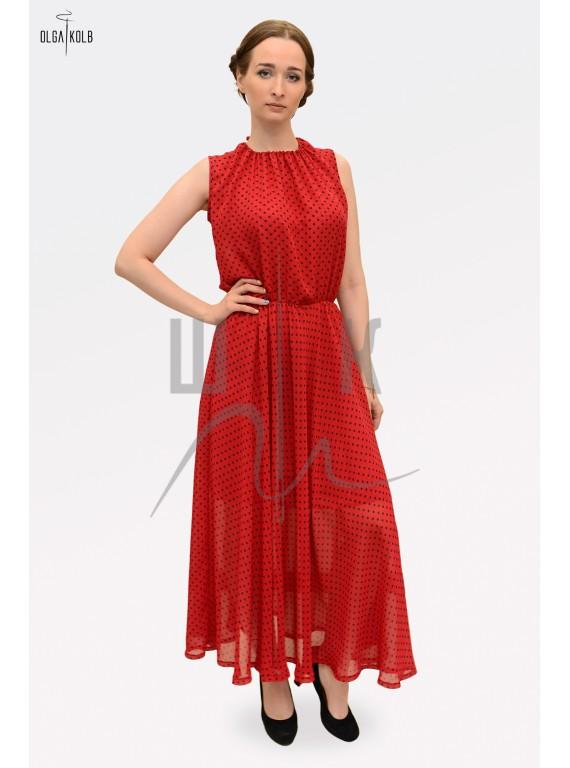 Платье из шифона бренда OLGA KOLB, красное в черный горох