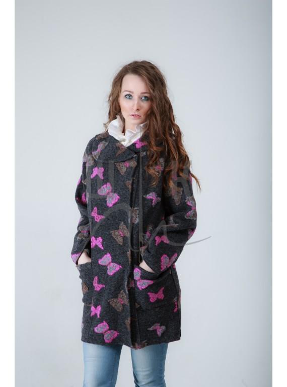 Пальто удлиненное , цвет: серый с бабочками