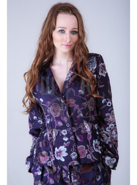 бархатный пиджак бренда OLGA KOLB, цвет лила