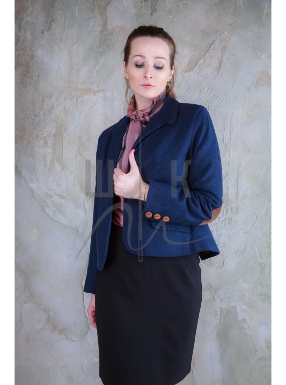 классичекий шерстяной пиджак бренда OLGA KOLB, цвет синий