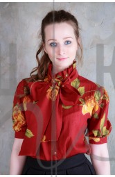 блуза бренда OLGA KOLB с бантом, цвет бордо Б-бор-х100
