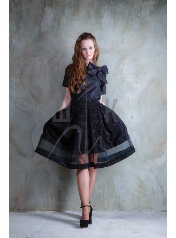 Юбка с глубокими складками и прозрачной полосой  бренда OLGA KOLB, цвет черный