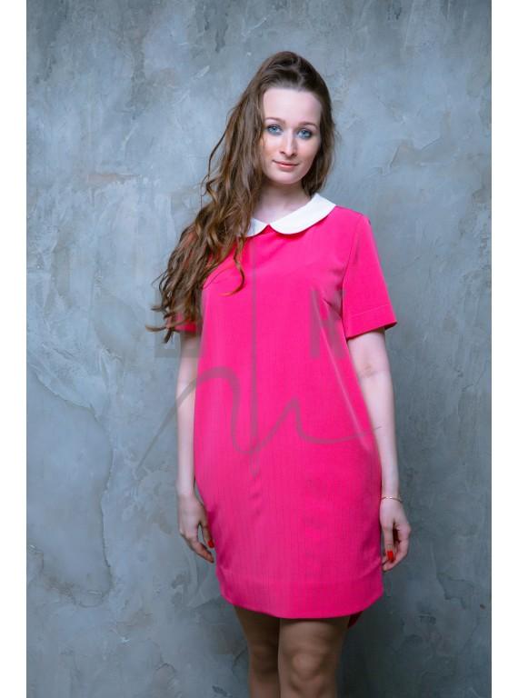 Платье с белым воротничком, цвет фуксия, П-розбв-пэ100
