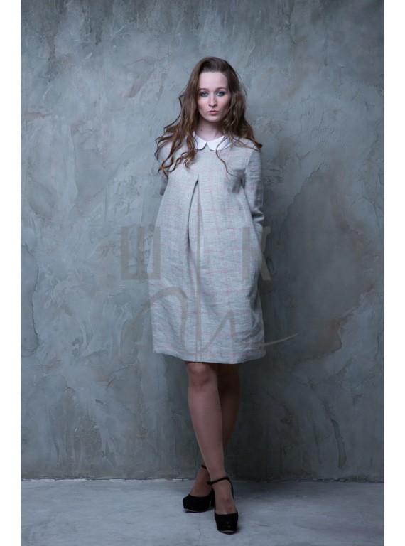 Платье с белым воротничком, цвет серый в розовую клетку