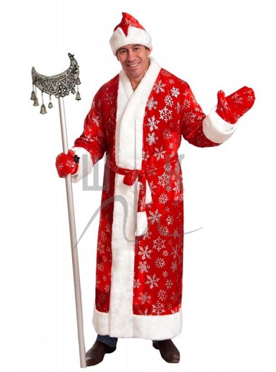 Взрослый карнавальный костюм Дед Мороз красный бархат р.54