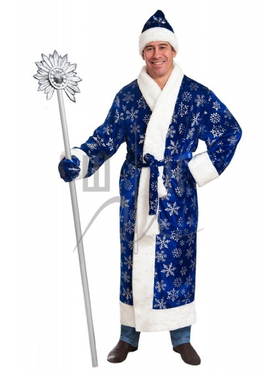 Взрослый карнавальный костюм Дед Мороз синий бархат  р.54