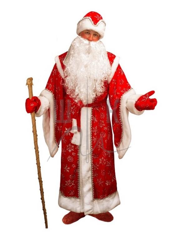 Взрослый карнавальный костюм Дед Мороз Боярский красный р.50-52