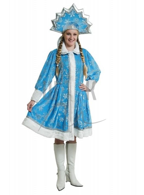 Взрослый карнавальный костюм Снегурочка с кокошником р.44-46