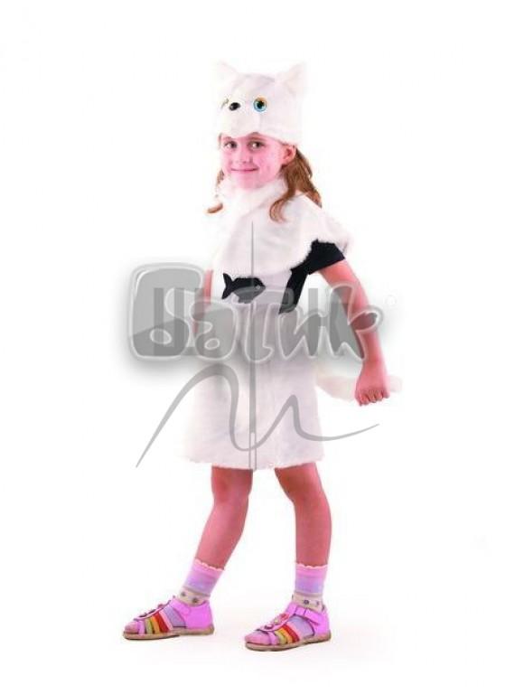 Детский  Карнавальный костюм, маскарадный костюм Кошка Белая 28р