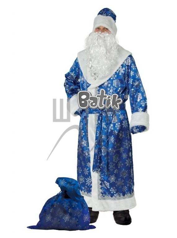 Взрослый Карнавальный костюм, маскарадный костюм Дед мороз сатин синий 54-56 рр