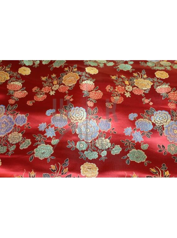 Китайский шёлк красный с цветами(платье,халат,блуза)