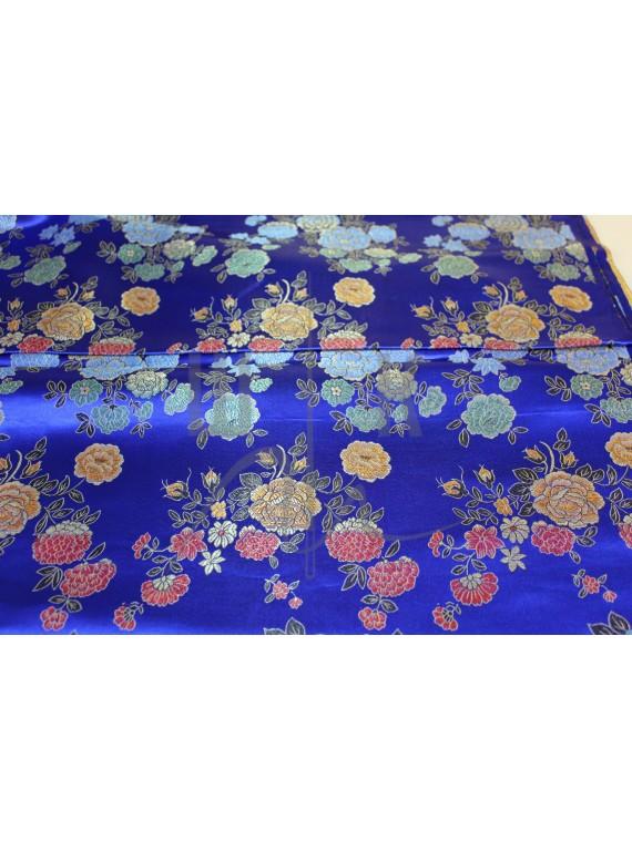 Китайский шёлк синий с цветами(блуза,халат,платье)