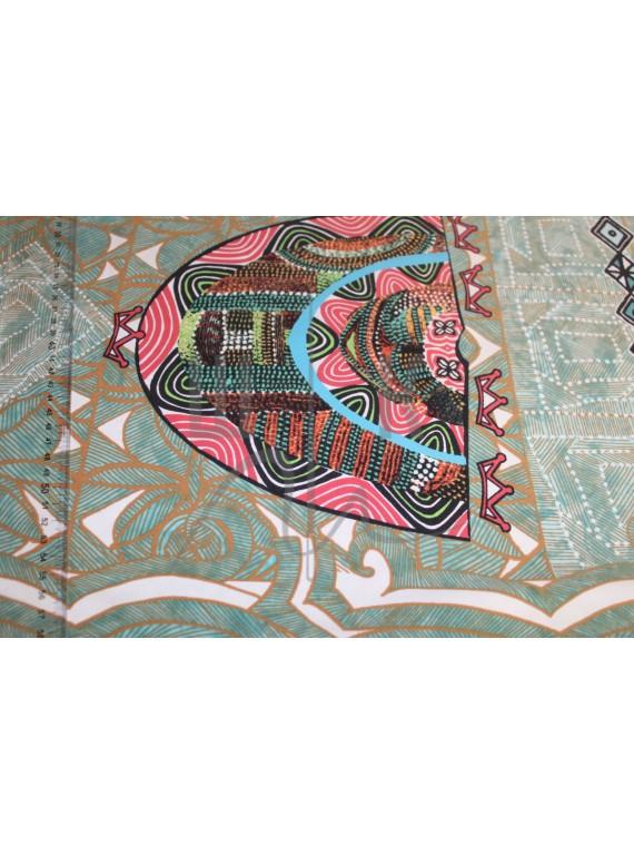 Ткань для купальников лайкра бирюза с орнаментом