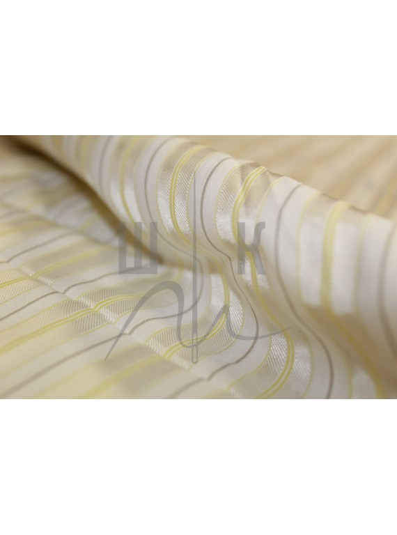 Вискоза, подкладочная ткань белая в жёлтую полоску
