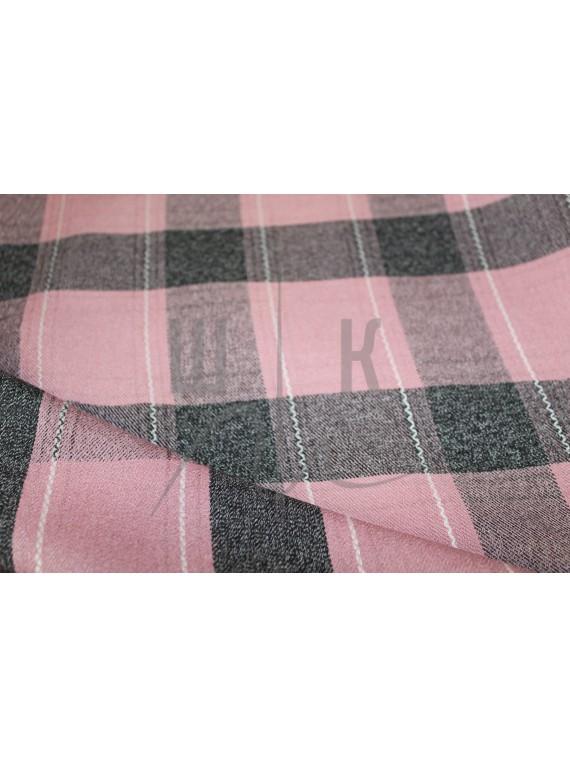 Костюмная ткань в клетку розовый серый