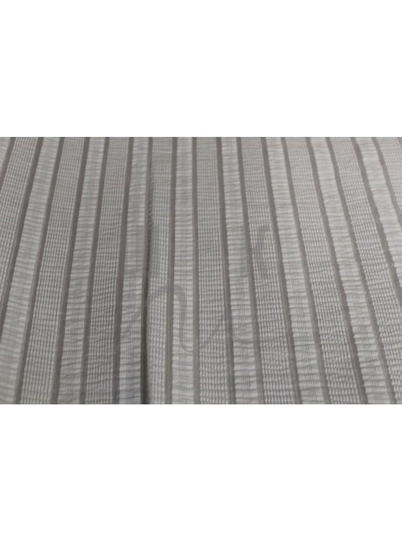 Ткань блузочная белая с прозрачными полосками