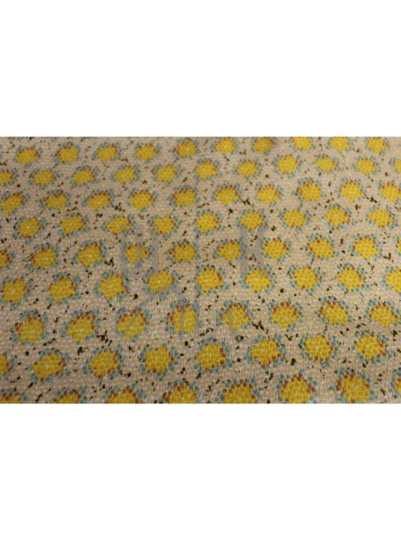 Ткань жёлтая костюмная принтованная