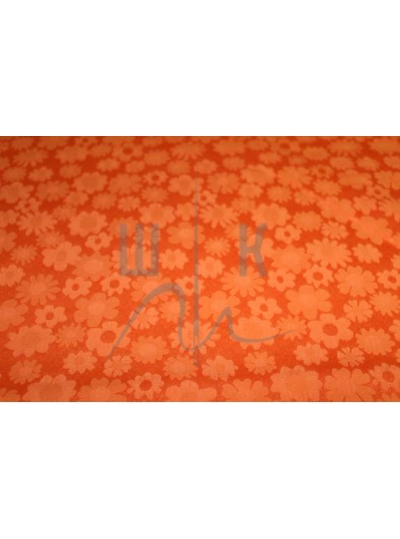 Ткань костюмная ярко рыжая в цветочки