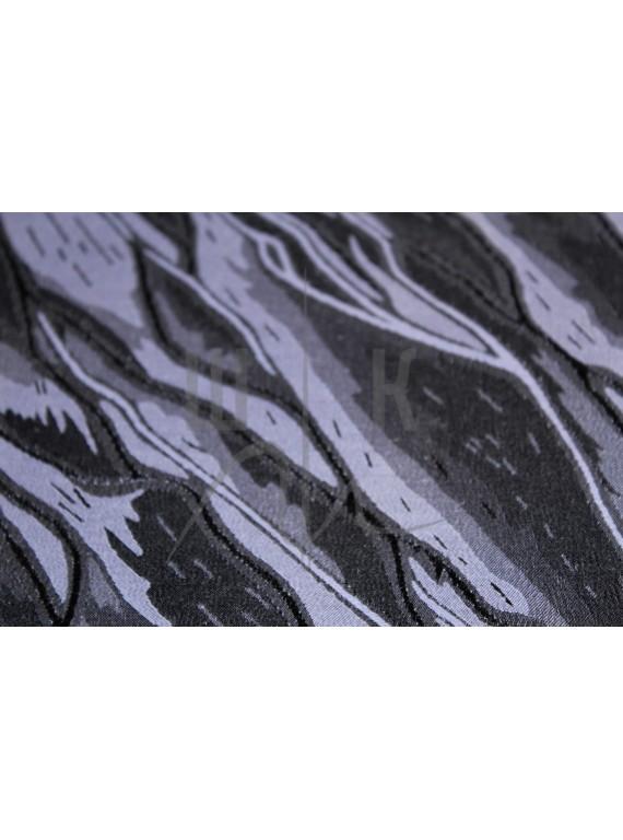 Костюмная ткань сирень с чёрными реками